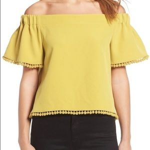 Willow & Clay off the shoulder pom pom blouse